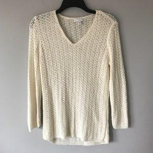 Charter Club ivory open knit v neck sweater knit